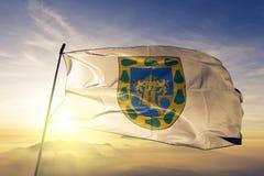 Distrito federal mexicano da tela de pano de matéria têxtil da bandeira de México que acena na névoa superior da névoa do nascer  ilustração royalty free
