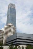 Distrito financeiro central do Pequim de Ásia, China, arquitetura moderna, construções muito-contado da cidade Fotografia de Stock Royalty Free