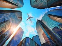 Distrito financeiro com arranha-céus modernos Imagem de Stock Royalty Free