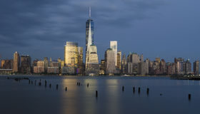 Distrito financeiro de Manhattan e Hudson River imagens de stock