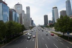 Distrito financiero central de Asia Pekín, chino, tráfico de ciudad Imágenes de archivo libres de regalías