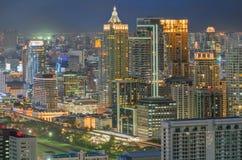 Distrito financiero central de Bangkok (CBD) en la noche Fotografía de archivo