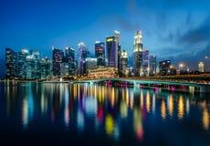 Distrito financiero de la central de Singapur Imágenes de archivo libres de regalías