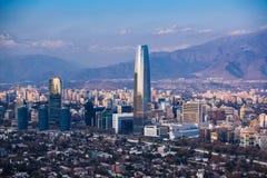 Distrito financiero en Santiago Foto de archivo