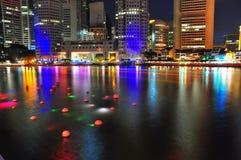 Distrito financiero y río Imagen de archivo libre de regalías