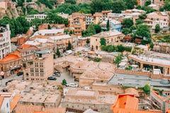 Distrito histórico Abanotubani - distrito del baño en la ciudad vieja de Tbilisi Imágenes de archivo libres de regalías