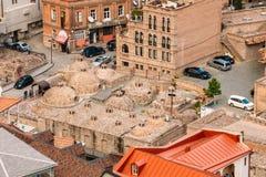 Distrito histórico Abanotubani - distrito del baño en la ciudad vieja Georgia de Tbilisi Fotos de archivo