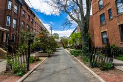 Distrito histórico de la calle de la corte en el cuadrado de Wooster en New Haven Imagen de archivo libre de regalías