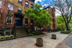 Distrito histórico de la calle de la corte en el cuadrado de Wooster en New Haven fotografía de archivo