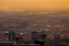 Distrito industrial de Dubai na noite fotografia de stock