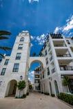 Distrito luxuoso moderno em Tivat, Montenegro imagem de stock
