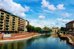 Distrito Milán de Navigli Imágenes de archivo libres de regalías