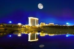 Distrito novo de Songbei, Harbin, noite Fotografia de Stock