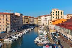 Distrito pintoresco Venezia Nuova en Livorno, Italia imagen de archivo libre de regalías