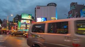 Distrito que hace compras de Ximending en la ciudad de Taipei, timelapse de Taiwán almacen de metraje de vídeo