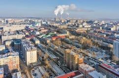 Distrito residencial na rua de Melnikayte Tyumen Imagens de Stock Royalty Free