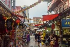 Distrito Singapur de Chinatown con las porciones de diversos productos Foto de archivo libre de regalías