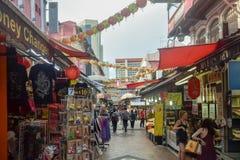 Distrito Singapur de Chinatown con las porciones de diversos productos imagenes de archivo