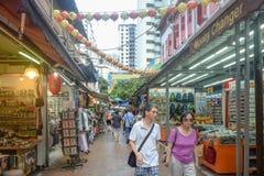 Distrito Singapur de Chinatown con las porciones de diversos productos Fotos de archivo