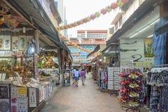 Distrito Singapur de Chinatown con las porciones de diversos productos Fotografía de archivo libre de regalías