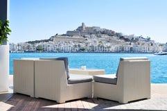 Distritos del Sa Penya y de Dalt Vila en la ciudad de Ibiza, España Foto de archivo libre de regalías