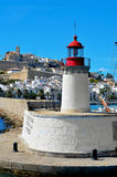 Distritos na cidade de Ibiza, Balearic Island do Sa Penya e do Dalt Vila fotos de stock royalty free