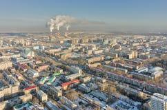 Distritos residenciales en la calle de Melnikayte Tyumen Imagenes de archivo