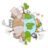 distructed的地球作为绿色环境和 图库摄影