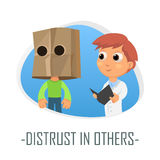 Distrust in others medical concept. Vector illustration. Royalty Free Stock Photos