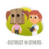 Distrust in others medical concept. Vector illustration. stock illustration