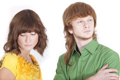Distrust in relationship. Distrust between man and woman in a relationship Stock Image