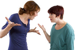 Distrust. Two Caucasian women arguing and distrusting each other Royalty Free Stock Photos