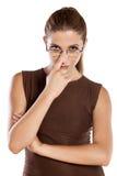Distrustful gesture stock image