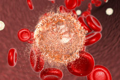 Distruzione della cellula di leucemia Fotografia Stock Libera da Diritti