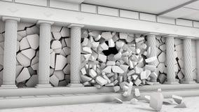 Distruzione di un corridoio con le colonne Immagini Stock Libere da Diritti