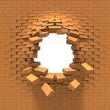 Distruzione di un muro di mattoni Immagini Stock