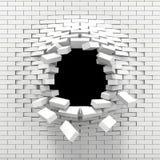 Distruzione di un muro di mattoni bianco Immagini Stock