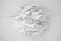 Distruzione di un muro di mattoni bianco illustrazione 3D Immagine Stock