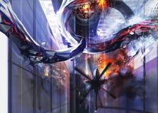 Distruzione straniera della città Immagini Stock