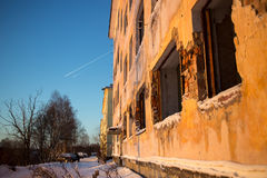 Disturbed building in winter time Stock Photos