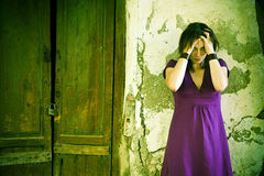 Disturbed woman Stock Images
