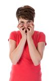 Disturbed woman with hands for face Royalty Free Stock Image
