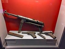 German WW2 Weapons, Museum of the Kalavryta Holocaust, Peloponnese, Greece. A disturbing display at the Museum of the Kalavryta Holocaust, an MP40 sub machine stock photo