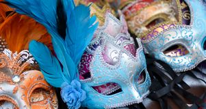 Masks for a colorful carnival. Disturbing masks for nightmares dreams and carnival stock images