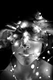 Disturbing portrait of woman. With led lights Royalty Free Stock Photos