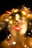 Disturbing portrait of woman. With led lights Stock Image