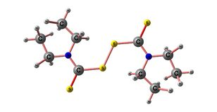 Disulfiram molecular structure isolated on white. Disulfiram is a drug used to support the treatment of chronic alcoholism by producing an acute sensitivity to royalty free illustration