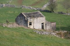 Disused barn with no roof Stock Image