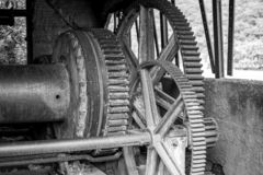 Disused and discarded machinery in the mining industry stock photography