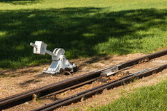 Disused rail track with switch Stock Photo